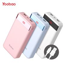 Yoobao PowerBank 20000 mAh 2 USB Fast Charge Portable Pover Bank For iPhone X 8 7 6 5 4 Power Bank For Xiaomi Mi A1 MAX Phones(China)