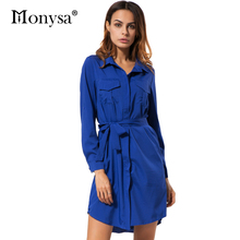 Blue Long Sleeve Dress Women Autumn Clothing 2017 New Arrival Fashion Collar Shirt Dress Casual Women Chiffon Dress With Belt