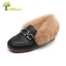 J Ghee 2017 New Girls Flat Shoes Children Fluffy Fur Fashion Baby Girl Winter Warm Shoes for Children Sneakers Kids Boys Loafers(China)