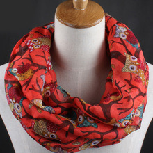 Women Vintage Owl Pattern Print Long Soft Cotton Voile Scarf Shawl Wrap Scarves