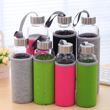 Water Glass Bottle With Protective Bag 280/360/550ml Drinking Teapot  Sports Travel Bottles Free Shipping