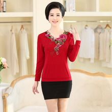 Milan Cotton Long Sleeve T-Shirts Spring Fashion Middle Age Mother Embroidery Diamond Collar Bottom Pullovers Big Size Women Top