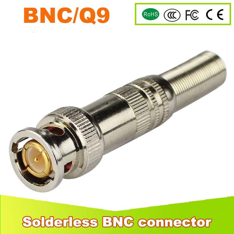 100pcs/lot BNC Male Connector for RG-59 Coaxical Cable, Brass End, Crimp, Cable Screwing, CCTV Camera BNC connector<br>