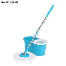 iKayaa US UK FR DE Stock Spin Mop Stainless Steel 360 Rolling Spin Mop Bucket Set Rotating Floor Mop 2 Microfiber Mop Heads(China)