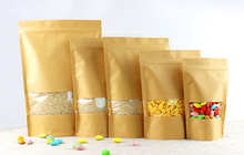 14*20+4cm 50pcs Stand Up Clear Window Brown kraft paper bags with Zipper lock for Food/Tea/Nut/Coffee Resealable Packaging Bag(China)
