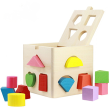 BOHS Educational Toys Baby Intellectual Wooden DIY 13 Holes Geometry Blocks Shape Sorting Cube Box(China)