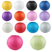 "10pcs 10"" (25cm) Round Paper Lanterns Wedding Birthday Party Decorations Supply Lamp Chinese Paper Ball(China)"