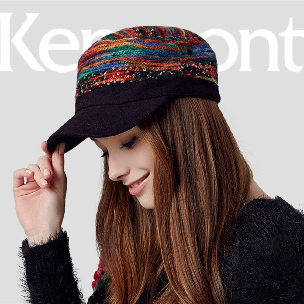 New Kenmont Autumn Winter Women Cap Snapback Polyester Casual Cadet Baseball Cap Peak Adjustable Hat Colorful 2284<br>