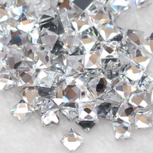 Promotion 260pcs/lot 6mm-10mm Square Clear Crystal Hot Fix Rhinestones Strass Crystal Rhinestones Trim Flatback Crystal Craft