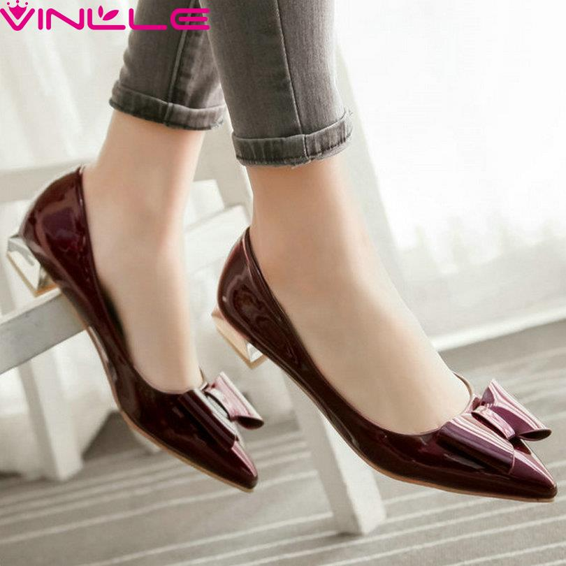 VINLLE Woman Pumps Wine Thick Low Heel Slip on Summer Shoes Pointed Toe 4 Colors Casual Ladies Shoes  Bow Tie Wedding Size 43<br><br>Aliexpress