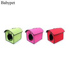Newest 2016 pet dog house cheap portable and foldable soft pet dog cat bed house kennel doggy warm dog paw printing