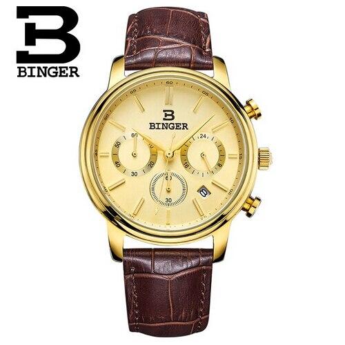 Switzerland Brand Men Sports Stop Watches Binger Quartz Fashion Watch Outdoor Leather Wristwatches Relogio Masculino<br>