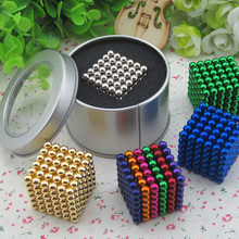 216 pcs/pack 5mm Magic Magnetic Game 16 Kinds DIY Cubes Balls Puzzle Magnets Board Game with Metal Box(China)