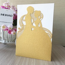 50pcs/Lot2017 Romantic Birde&Groom Hug Design Wedding Invitations Cards Laser Cut invitation Card for Birthday Party Decorations
