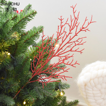 HAOCHU 5pcs Red Coral Branches Plant Artificial Flower Christmas Tree Drop Ornament Home Wedding Room Party Favor(China)