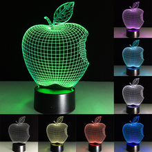 Acrylic 7 Colors Changing 3D Apple LED Nightlight Desk Table Lamp USB Lamps Touch Button And Remoto Festival Gifts Office Dector(China)
