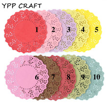"YPP CRAFT 4.5""Mixed Colors Lace Paper Doilies/Placemats for Wedding Party Decoration Supplies Scrapbooking Paper Crafts(China)"