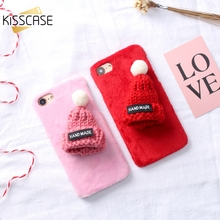 KISSCASE Lovely Fur Cases for iPhone 5 5s se 3D Hat Hard Cover for iPhone 7 8 6 6s Plus 7 Christmas Case Warm Winter Accessories(China)