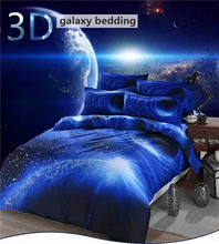Hipster 3D Galaxy Bedding Set Universe Outer Space Themed Galaxy Print Bedlinen Bed sheet Twin Queen Size Cheap Hot(China)