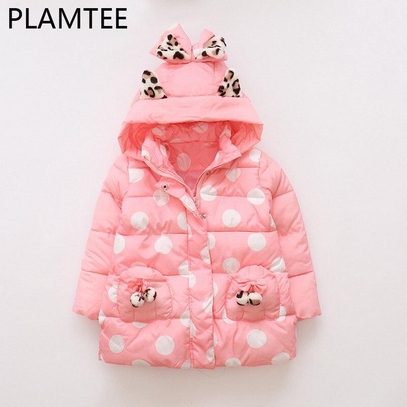 PLAMTEE 2017 Girls Winter Down Jacket Pink Sweet Hoodies Coat For Girl Polka Dot Zipper Children Overcoat Warm Kids Outerwears <br>