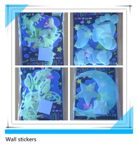Free Shipping hot sell wall sticker Fluorescent stars luminous stickers moon 3d wall stickers Home Decoration Ecofriendly PVC Z1(China)