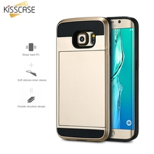 KISSCASE Card Storage Cases Hard Plastic Soft Silicon Dual Hybrid Phone Cover for Samsung Galaxy S6 S6 edge Card Slider Capa
