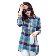 Women Casual Long Sleeve Cotton Linen Top Loose Plaid Shirt Fashion Blouse M-XXL