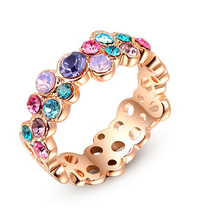 G.R N.E.R.H Fashion Colorful Austrian Crystal Ring White Gold-color Gift Jewelry For Women Wedding Fine Jewelry