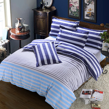 Blue stripe winter 3/4pc Bedding Set Fashion Warm comfortab pink luxury duvet cover+Bed sheet+Pillowcase Home textile decoration