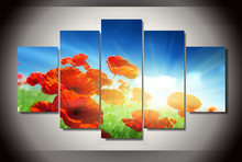 Unframed 5 Panel HD Modern Printed Red Flower Group Painting For Living room decor wall Art Modular Picture Canvas Printed Decor