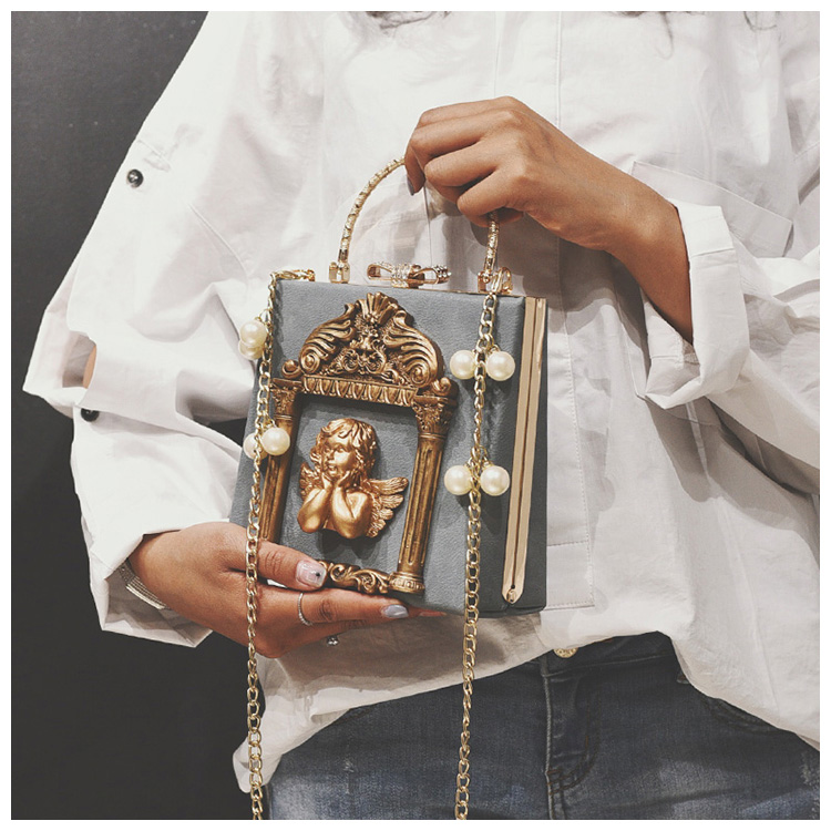 3D reljeefne ingli ornamendiga väike käekott naistele
