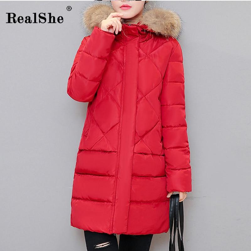 RealShe 2017 Winter Jacket Fur Collar Hooded Zipper Medium-Long Winter Parkas Jacket High Quality Slim Coat Cotton Îäåæäà è àêñåññóàðû<br><br>