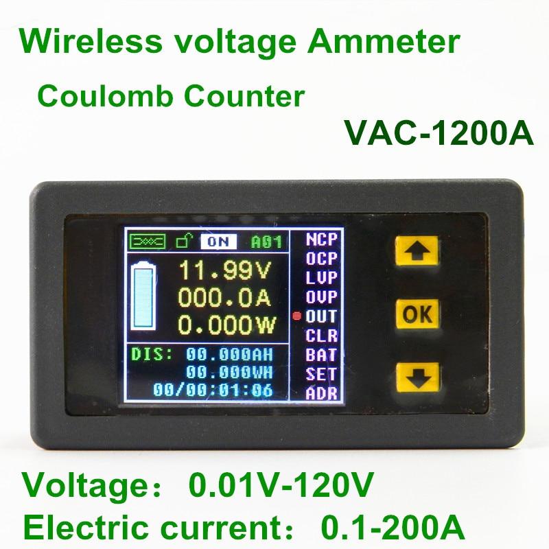 New Multifunction Wireless DC Voltmeter Ammeter Power Meter 0-120V 200A + Shunt<br><br>Aliexpress