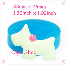 33mm DYL270 Dog Silicone Mold with Flower Fondant Cake Decoration Icing Polymer Clay Chocolate Cotton Candy Soap