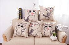 Cat printed Cotton Linen Sofa Cushion Embrace Pillow 45x45cm/17.7x17.7'' Cat Decorative Throw pillow Home Textile Seat Cushion(China)