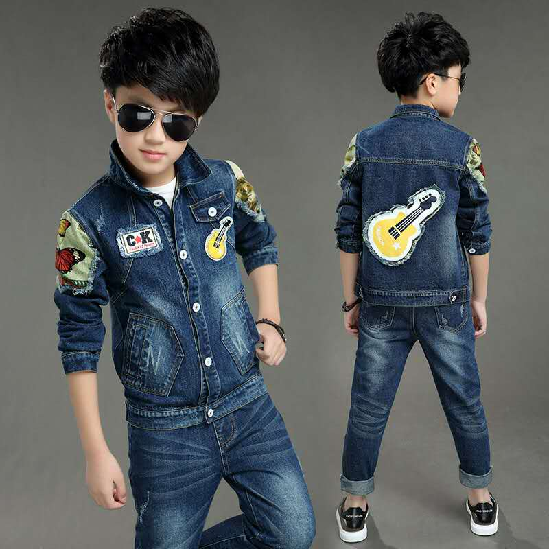 2016 Spring New Denim Jeans Kids Clothes Two Set Boys Clothes Children Clothing Jacket Denim Boys Jeans Pants Height 120-160cm<br>