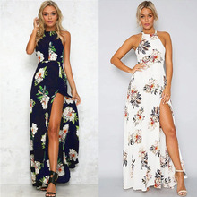 Ruiyige Ladies Sexy Tunic Floral Print Beach Elbise Backless Halter Neck High Split Cut Out Waistband Long Maxi Tank Dress White