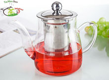 1x Pot QY - Big 22fl.oz 650ml Heat-Resisting Clear Glass Flower Teapot Coffee Water Tea Pot with Stainless Steel Infuser Lid