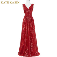 Kate Kasin Long Bridesmaid Dresses Red Silver Pink Black Gold Sequins Wedding Party Dresses for Bridesmaids 2018 Prom Gown Green(China)