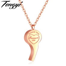 "TENGYI Referee Whistle Jewelry Necklaces For Lovers Romantic ""Forever Love"" Stainless Steel Whistle Pendant Women Choker TY1116"