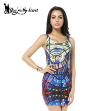 [You're My Secret] 2017 NEW Sundress Fashion Women Owl Glass  Print Galaxy Dress NEW  MADE TO ORDER Sleeveless Shirts Wholesale