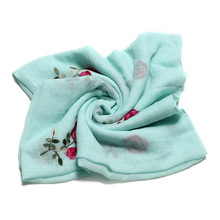 1PC Long Embroidered Scarf Women Cotton Scarves Shawls Rose Flower Embroidery Scarf Muslin Viscose Hijab Foulard Femme(China)