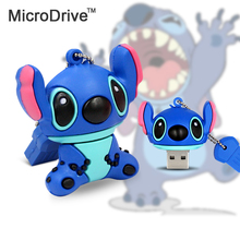 Real Capacity Cartoon Stitch USB Flash Drive 64GB 32GB 16GB 8GB 4GB Pen Drive memory stick pendrive thumb drives(China)