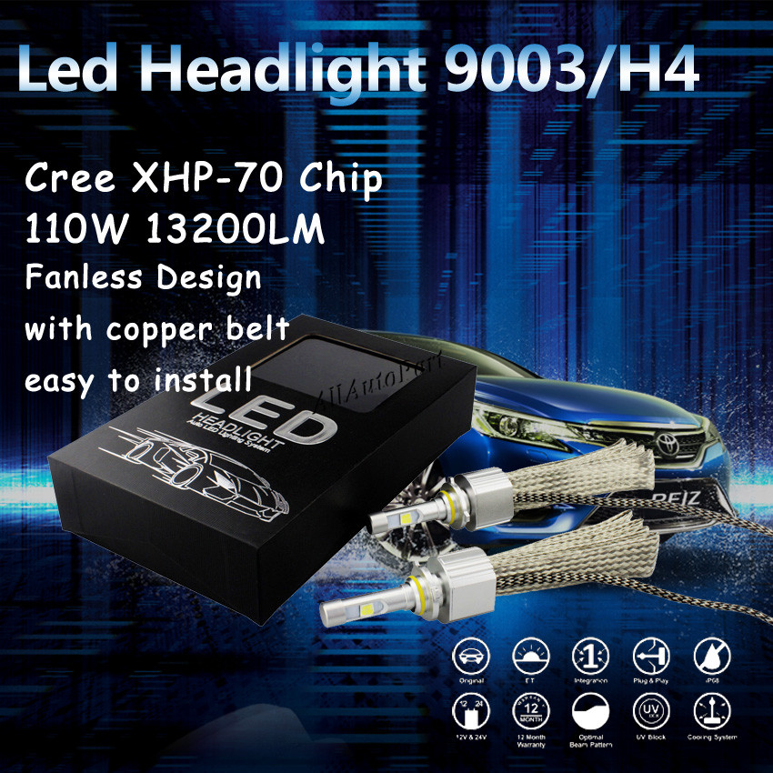 Good heat dissipation fanless H4 led headlight C ree XHP 70 LED chips 55W 6600LM bulb 9012 H7 H11 9005 9006 H13 9007 9004<br><br>Aliexpress