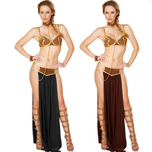 2016 Sexy New Carnival Women Star Wars Cosplay Party Halloween Costumes Sexy Princess Leia Slave Costume(China)