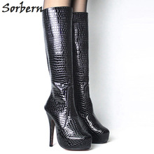 Buy Sorbern Sexy Fetish Shoes Snake Pattern Shoes Woman 15Cm High Heel Platforms Knee High Boots Plus Size Shoes Custom Colors