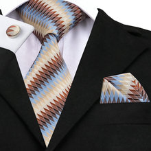 SN-1008 Blue Brown Ivories Striped Tie Hanky Cufflinks Sets Men's 100% Silk Ties for men Formal Wedding Party Groom(China)