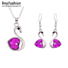 2015 Promotion discount queen Factory Wholesales fashion austrian Crystal Swan Pendant Jewelry Sets Necklace Earrings 009