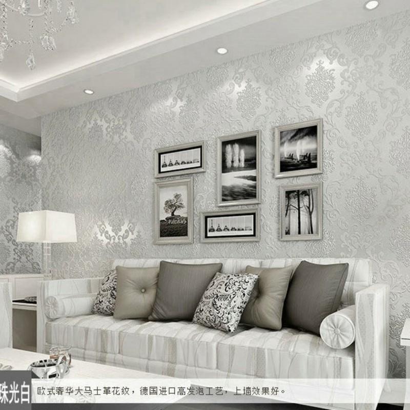 Beibehang European 3D Stereo Wallpaper Embossed Embossed Damascus Pattern Room Living Room Home Decoration 3d Wallpaper Roll<br>