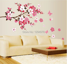 Pink Flowers Butterfly Bathroom decor Removable large Wall Stickers Princess love room decoration Wall Art Poster Mirror Decals(China)